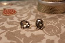 Gold Gem Oval Stud Earrings ~ $15